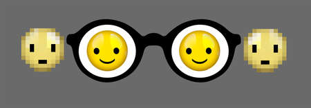 eyes glass concept, myopia concept, look at positive idea, sharp and blur focus, smiley faces in glass and blur outside, Illustration