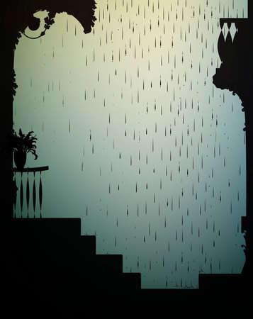 regen op de achtergrond van de oude stad, zomer tain en zon in de stad, vector