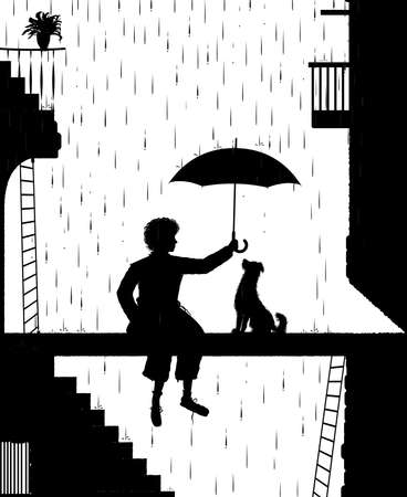 take care the dog, swagman holding the umbrella above the dog, my friend dog, black and white, shadow, vector Illustration