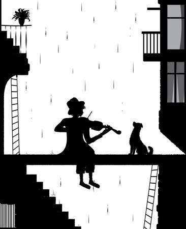 melody for friend, silhouette dog and violinist in the city, shadows black and white, vector