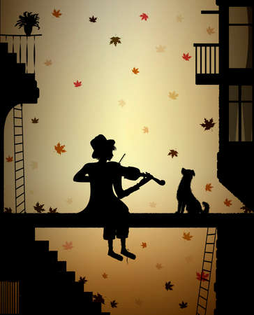 autumn melody for friend, silhouette dog and violinist in the city, autumn nostalgia, vector Illustration