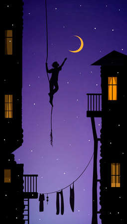 boy hanging on the rope and touching the moon, catch the dream in the city, vector