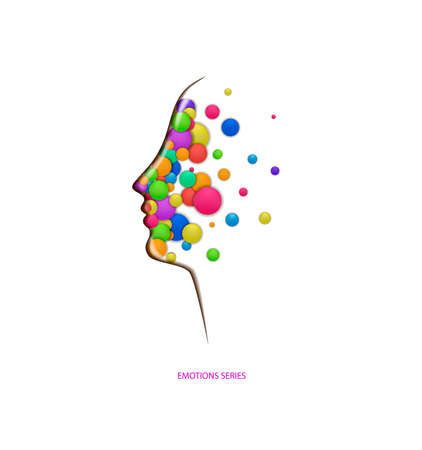 emotions concept, fulling heads with colored rounds, inner happiness, vector