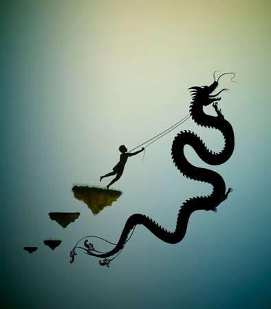 young man catching the fairy dragon and holding it on the thread, scene from the fairytale in the dreamland, hero, black and white, vector,