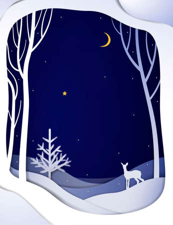 Paper winter forest night landscape with young deer and Christmas tree, paper winter fairytale background with bambi, Illustration