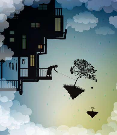 catch the dragon on the sky, feed the dragon, scene on the dreamland, fairy scene with dragon and man, fairy silhouette, vector Ilustração