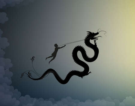 young man catching the fairy dragon and holding it on the thread, battle on the sky with dragon, scene from the fairytale in the dreamland, hero, black and white,