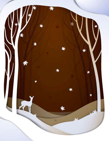 Paper autumn forest landscape with young deer, paper october fairy tale background with bambi,