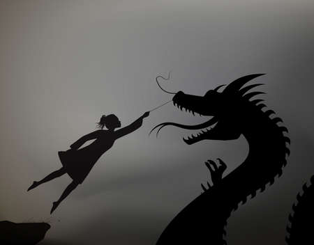 girl catching the fairy dragon and holding it on the thread, scene from the fairytale in the dreamland, black and whitel, shadows, Imagens
