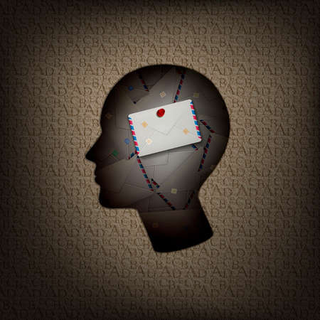massage in human brain concept, man profile with pile of letters inside and text pattern outside, remember only important, information and human mind concept, vector,