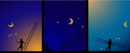 decorate the sky, work in theater, image story, e, boy fix the star and moon with ladder, work on the heavens, dream,