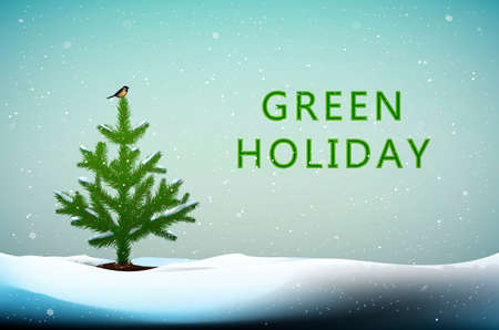 protect the tree idea, Small Christmas tree with titmouse bird on the top growing in snowdrifts and text Green holiday, Eco Christmas idea, vector Ilustração