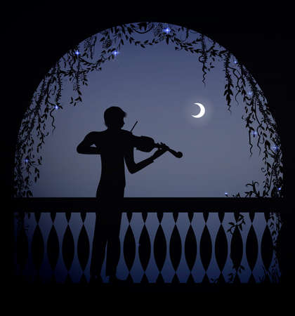 violinist in the arch of a balcony at romantic dark night, romantic melody character, silhouette, shadows,