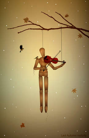 autumn melancholy, last autumn melody, marionette hanging on the tree branch and playing violine for tit birds, vector