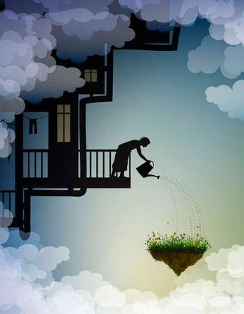 flower garden from the dreamland, scene on the wonderland, house on the sky, work on heavens, gardening, vector