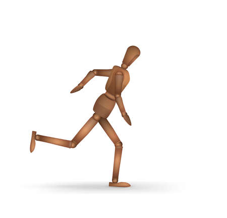 realistic wooden marionette running isolated on the white background, vector