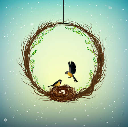 family home idea, wreath of thebranches with nest and two birds inside, sweet home, spring inside idea, nature decoration, vector Ilustração