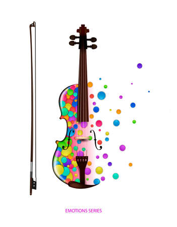 violin music idea on the white background, violine created from the small colored parts, color of music concept, vector