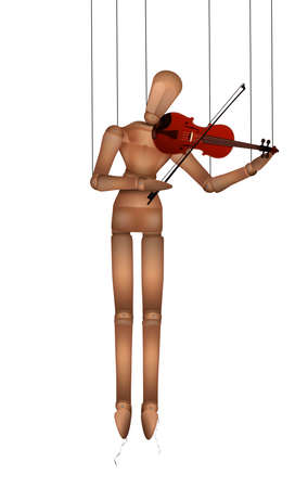 wooden marionette playing violine isolated on white, music lesson idea, melody for everyone concept, vector
