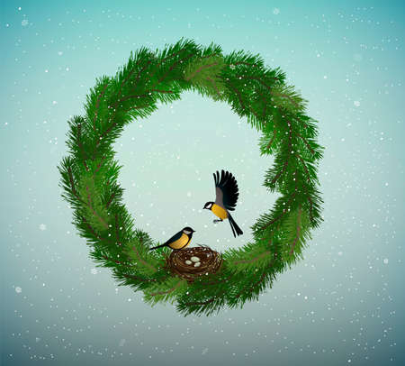 eco green holiday idea, wreath of christmas tree branches with nest and two birds inside, sweet home, protect the forest concept, nature decoration, vector Stock Illustratie