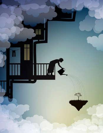 scene on the dreamland, house on the sky, rain on heavens, fairy silhouette, vector