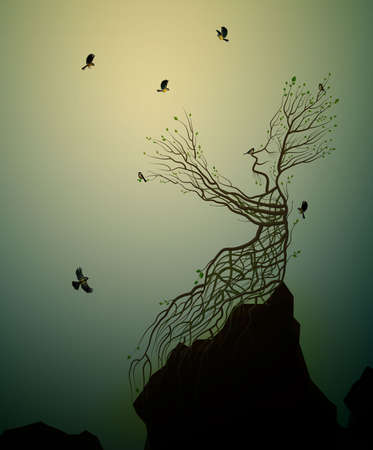 alive tree on the rock and titmouse, tree soul, man like tree giving his hand branch to flying birds, fairytale surrealism, plant alive idea, Standard-Bild - 115860094