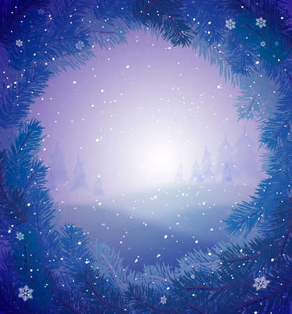 Winter snowy background for greeting card,winter fairytale, vector 일러스트