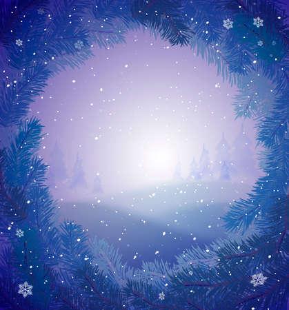 Winter snowy background for greeting card,winter fairytale, vector Ilustração
