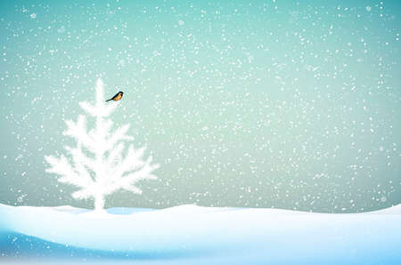 small white Christmas trees or young fir tree growing on soil in winter snowing blizzard weather, vector 일러스트