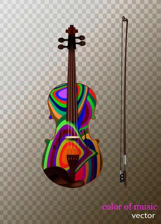 colored violin idea isolated, color of music concept, vector