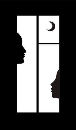 night talks concept, two people profile in the window,