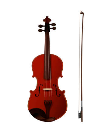 violine with fiddelestick isolated, detailed realistic violine isolated, Ilustrace