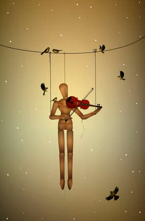 first snow melody, marionette hanging on the tree branch and playing violine for tit birds, friends character,