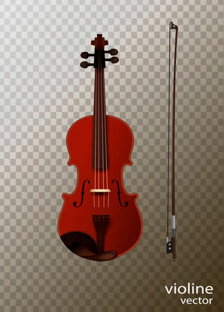 violine with fiddelestick isolated, detailed realistic violine isolated, Stock Illustratie