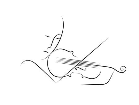 violinist in line on the white background, violine melody concept, vector