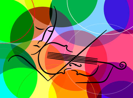 violinist in line on the colored background, violine melody concept, vector