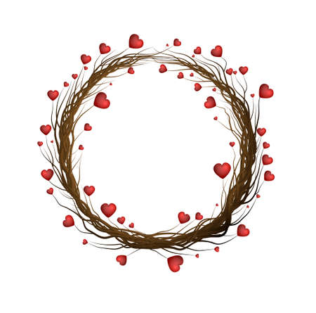 valentine s winter wreath, tree brenches with red hearts creating the wreath on the white background, vector