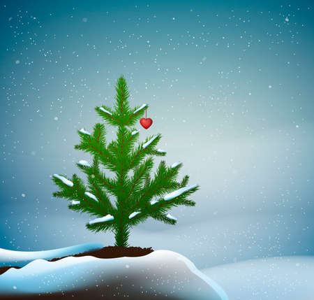 small Christmas trees or young fir tree growing on soil in winter snowing weather with red heart on the branch, love the tree, vector