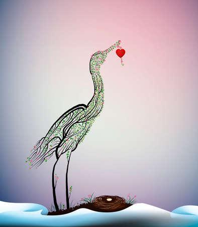 spring love, crane bird look like tree branches with the nest and hold red heart, valentines day surreal composition, vector