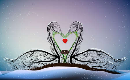 valentine card love forever, Two swans look like tree branches with the bird nest inside and holding the heart, vector