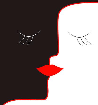 woman concept , kiss idea vector Ilustração