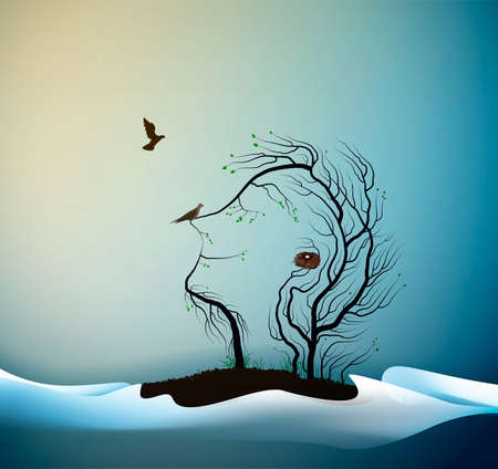 Happy spring tree concept, tree looks like man with birds, spring portrait of tree abstract, tree dream,