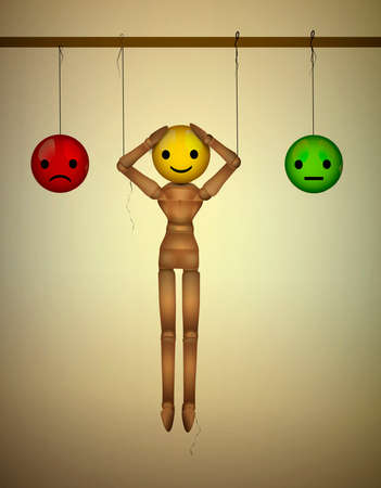 artificial happiness concept, mood concept, realistic wooden marionette hanging with artificial faces, vector