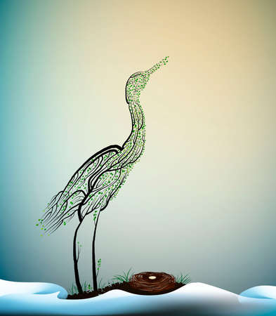 wait the spring, crane bird look like tree branches with the nest and look at the fist ray of the sun, spring beautiful composition, vector 일러스트