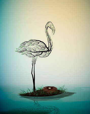 flamingo bird look like tree branches with the nest, birds extinction concept, vector Ilustração