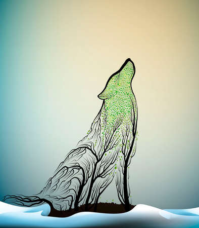 wolves extinction concept, spirit of dying wolf due the forest extinction, wolf look like tree branches in the winter forest, protect the animal and forest, vector 스톡 콘텐츠 - 126029073