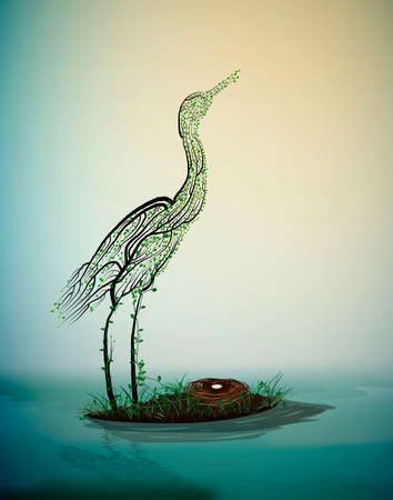 crane bird look like tree branches with the nest and look at the fist ray of the sun, spring beautiful composition, vector 스톡 콘텐츠 - 126029074