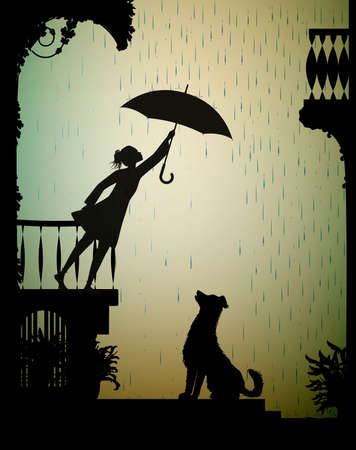 take care the dog, Girl on the balcony holding the umbrella above the dog, my friend dog, shadow, vector Stock Illustratie