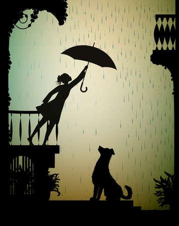 take care the dog, Girl on the balcony holding the umbrella above the dog, my friend dog, shadow, vector Ilustração