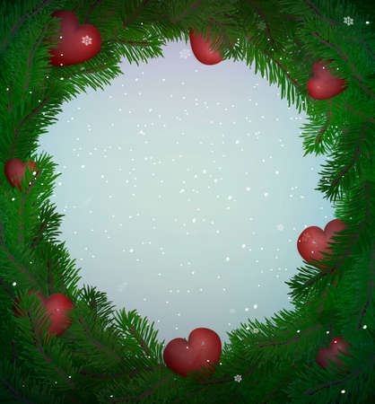 valentine s winter frame with hearts and pine branches, winter love frame, vector Ilustração
